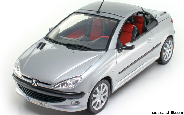 peugeot 206 cc welly 1:18 красный
